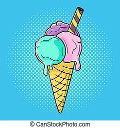Vector hand drawn pop art illustration of ice cream.