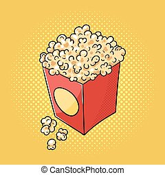 Vector hand drawn pop art illustration of popcorn.