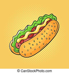 Vector hand drawn pop art illustration of sandwich.