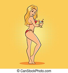 Vector hand drawn pop art illustration of young woman in swimsuit