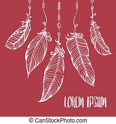 Vector hand drawn poster with feathers. Bohemian style.