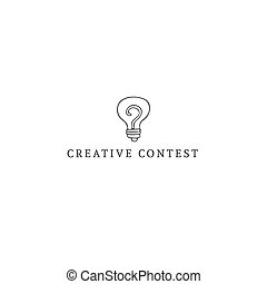Vector hand drawn premade logo template with a light bulb. -...