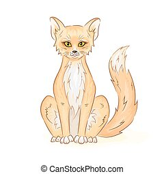 Vector hand drawn printable illustration of colorful cute sitting fox or cat. Can be printed on t-shirt, pillow, cup, phone case