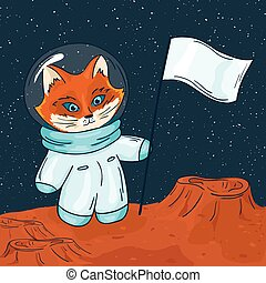 vector hand drawn printable illustration of fox astronaut ...