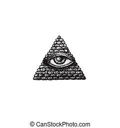 vector hand drawn providence eye