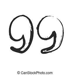 vector hand drawn quote mark, symbol icon