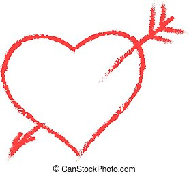 Vector hand-drawn red heart.