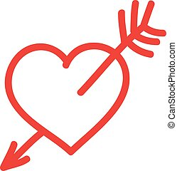 Vector hand-drawn red heart with arrow.