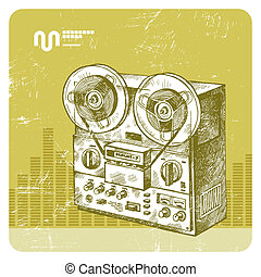 Vector hand drawn reel recorder