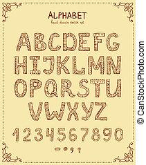 Vector Hand Drawn Retro Font