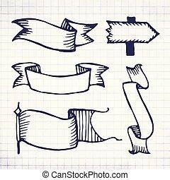 Vector hand drawn retro sketch ribbons on notebook sheet
