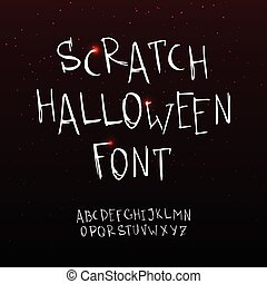 Vector hand drawn scratchy Halloween font. Grunge style alphabet.