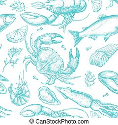 Vector hand drawn seafood pattern.
