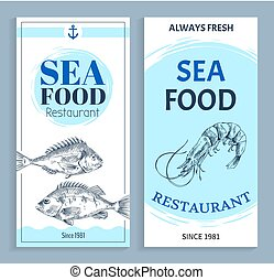 Vector Hand Drawn Seafood Restaurant Banner Set - Best...
