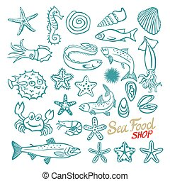 Vector hand drawn seafood shop. Vintage illustration