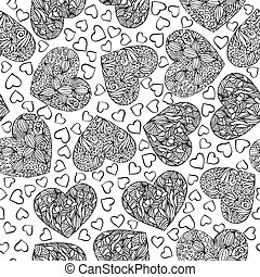 Adult coloring book page with hearts.