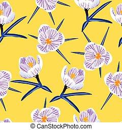 seamless pattern with spring purple crocus