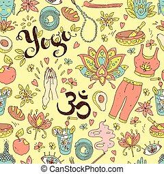Vector hand drawn seamless pattern. Yoga equipment and accessori