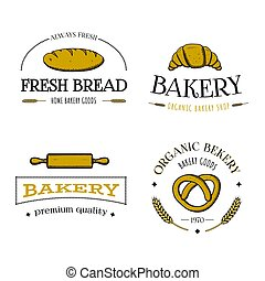 Vector hand drawn set of bakery logos, labels, badges or icons.