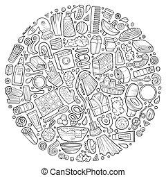 Vector hand drawn set of Bathroom cartoon doodle objects -...