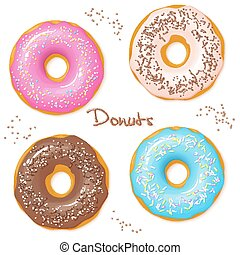 vector hand drawn set of four sweet donuts - top view