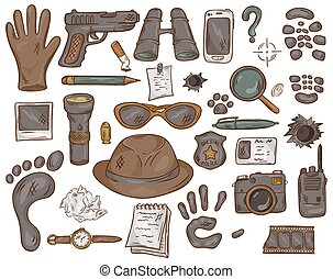 vector hand drawn set of illustration with detective tools...