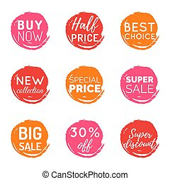 Vector hand drawn set of speech bubbles with sale phrases. Discount card collection, Buy Now,Half Price,Last Chance etc.