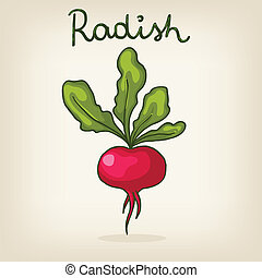 Vector hand drawn shiny radish - Vector cute hand drawn...