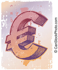 Vector hand drawn sign of Euro