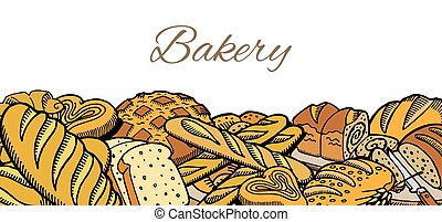 Vector hand drawn sketch baked bread background for poster, banner or menu. Baking goodies piled. Eco foods. Sketch vintage illustration for bakery and bakehouses.
