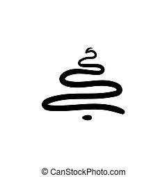 Vector hand drawn sketch christmas tree