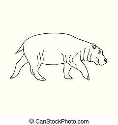 Vector hand drawn sketch doodle hippopotamus