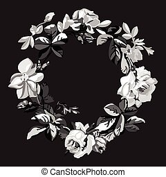 Vector hand drawn sketch floral of wreath with roses