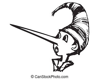 Vector, hand drawn, sketch illustration of Pinocchio with long nose. Motives of fairy tales, image of liar, epithet of lies