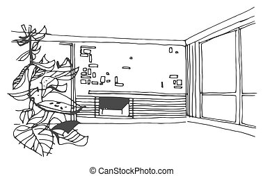 Vector hand drawn sketch illustration of room on white background.