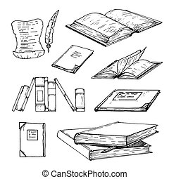 Vector Hand drawn sketch of books illustration on white background