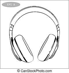 vector hand-drawn sketch of headphones