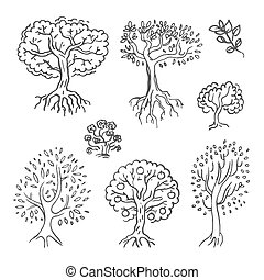 Vector Hand drawn sketch of tree illustration on white background