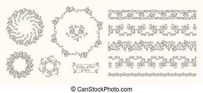 Vector Hand drawn sketch of vintage frames illustration on white background