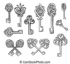 Vector Hand drawn sketch of vintage keys illustration on white background