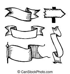 Vector hand drawn sketch ribbons