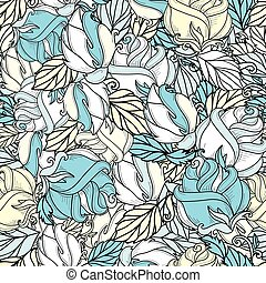 vector hand drawn sketch rose seamless pattern