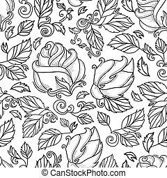 vector hand drawn sketch rose with leaves