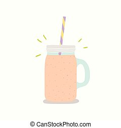 Vector hand drawn smoothie jar with handle. Vector hand...