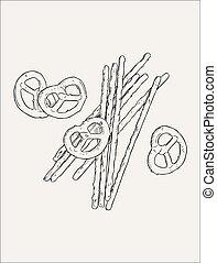 Vector hand drawn snack , pretzel  Illustration. Vintage style sketch