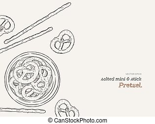 Vector hand drawn snack , pretzel  Illustration. Vintage style sketch