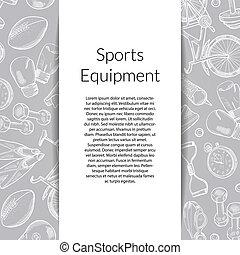 Vector hand drawn sports equipment background