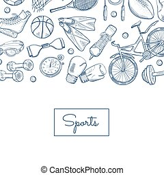 Vector hand drawn sports equipment illustration