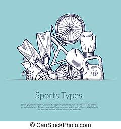 Vector hand drawn sports equipment