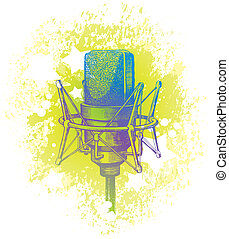 Vector hand drawn studio condenser microphone